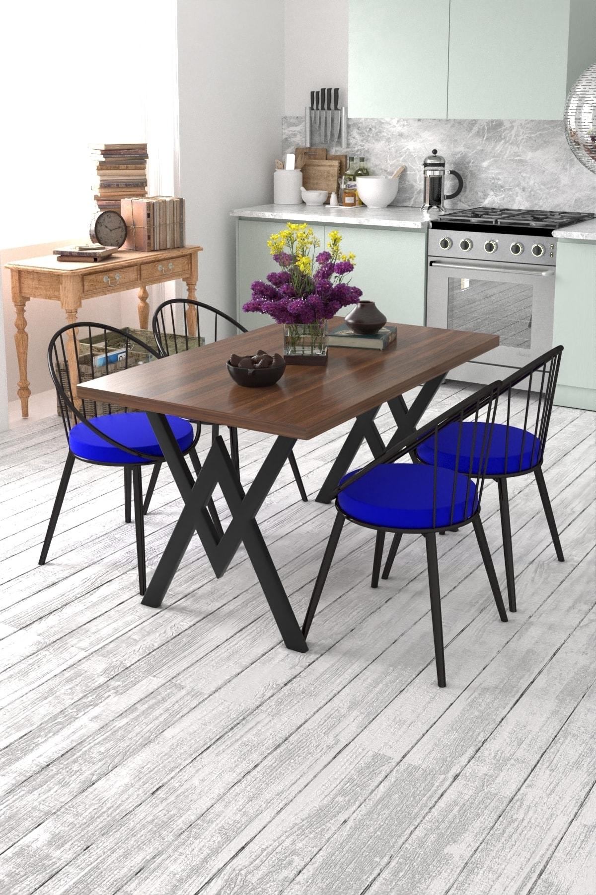 Evdemo Eylül 4 Kişilik Mutfak Masası Takımı Ceviz Mavi 1