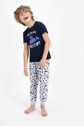 ROLY POLY Erkek Çocuk Lacivert Rolypoly Feed Me With Good Stuf Kısa Kol Pijama Takımı
