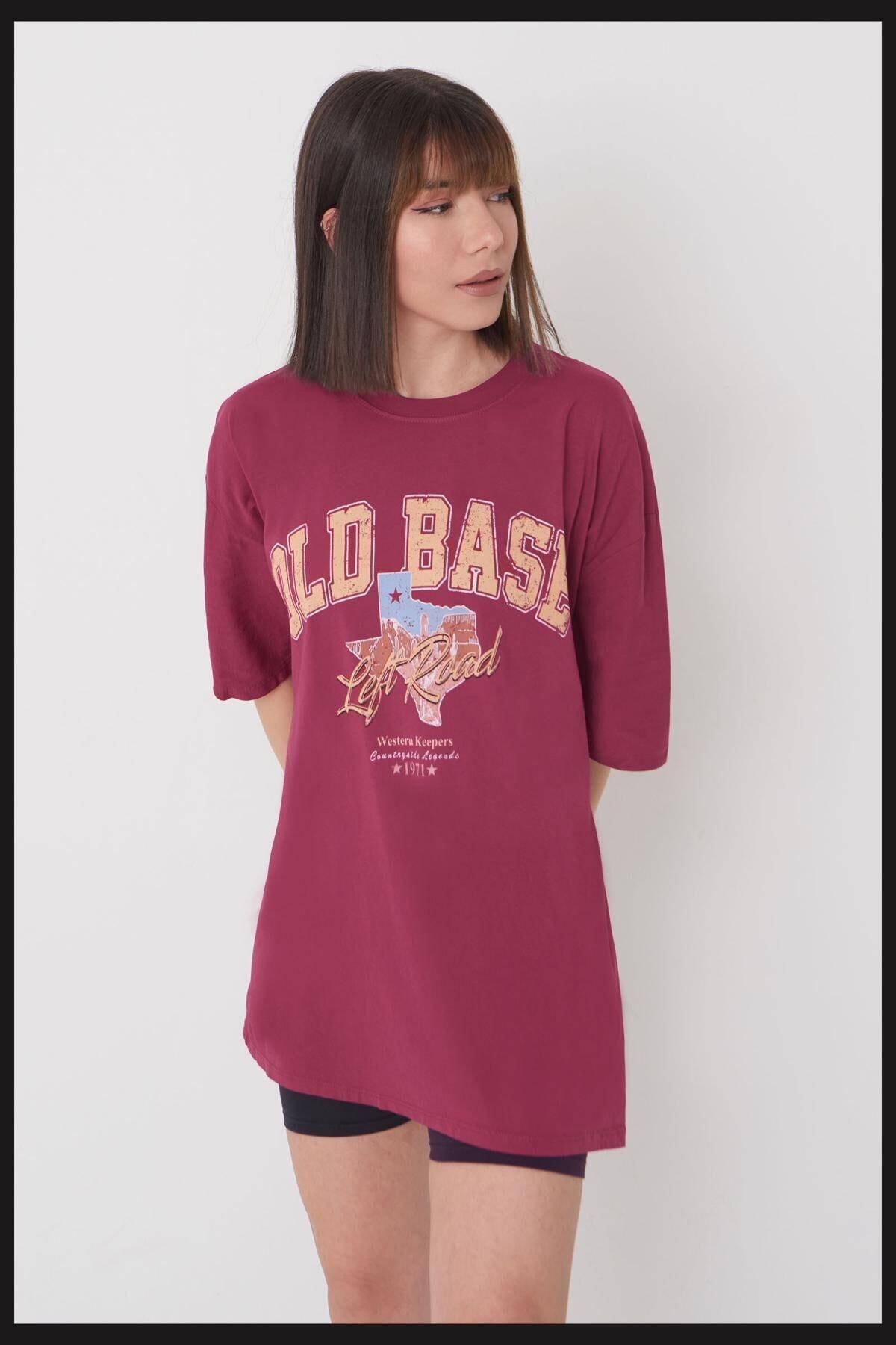 Addax Kadın Bordo Oversize T-shirt P9541 - W4 ADX-0000024179