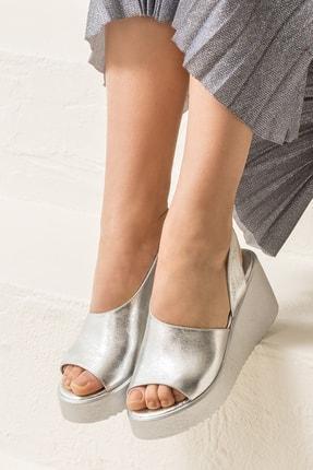 Elle Shoes SANDE Hakiki Deri Gümüş Kadın Sandalet