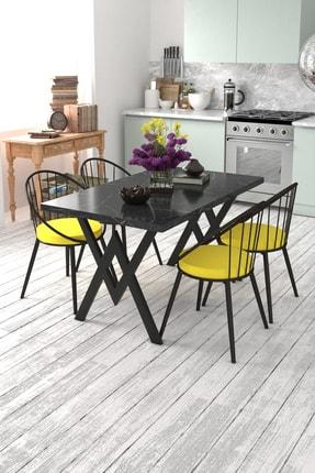 Evdemo Eylül 4 Kişilik Mutfak Masası Takımı Siyah Mermer Desen Sarı