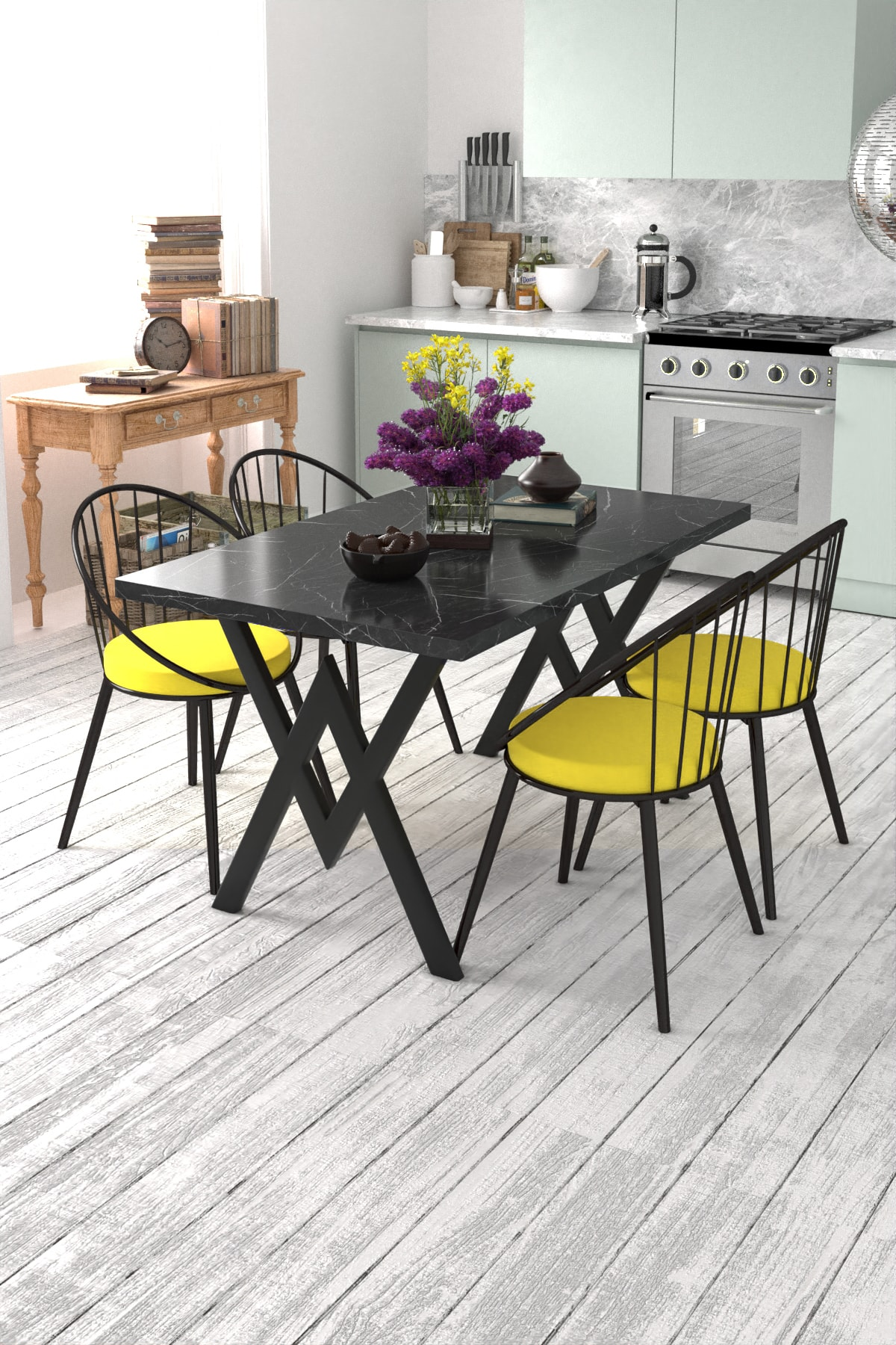 Evdemo Eylül 4 Kişilik Mutfak Masası Takımı Siyah Mermer Desen Sarı 1