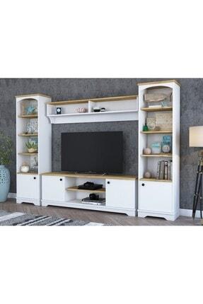 Rani Mobilya Rani D3 Duvar Raflı Kitaplıklı Country Tv Ünitesi Duvara Monte Dolaplı Tv Sehpası Beyaz Keçe Ceviz