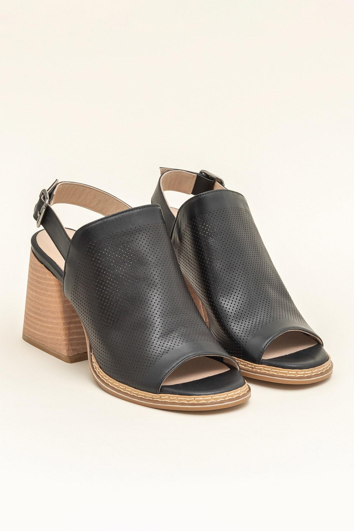 Elle Shoes PATRA Hakiki Deri Siyah Kadın Sandalet 2
