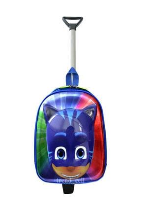 TahTicMer Anaokulu Çocuk Valiz Sırt Çantası Çekçekli Pija 2in1 Maskeli Kahraman 3 4 5 6 Yaş 5d Boyutlu