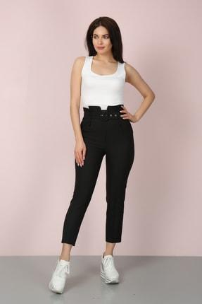 ChiChero Kadın Siyah Havuç Pileli Kalın Kemerli Kumaş Pantolon