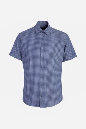 Kiğılı Kısa Kol Desenli Slim Fit Gömlek