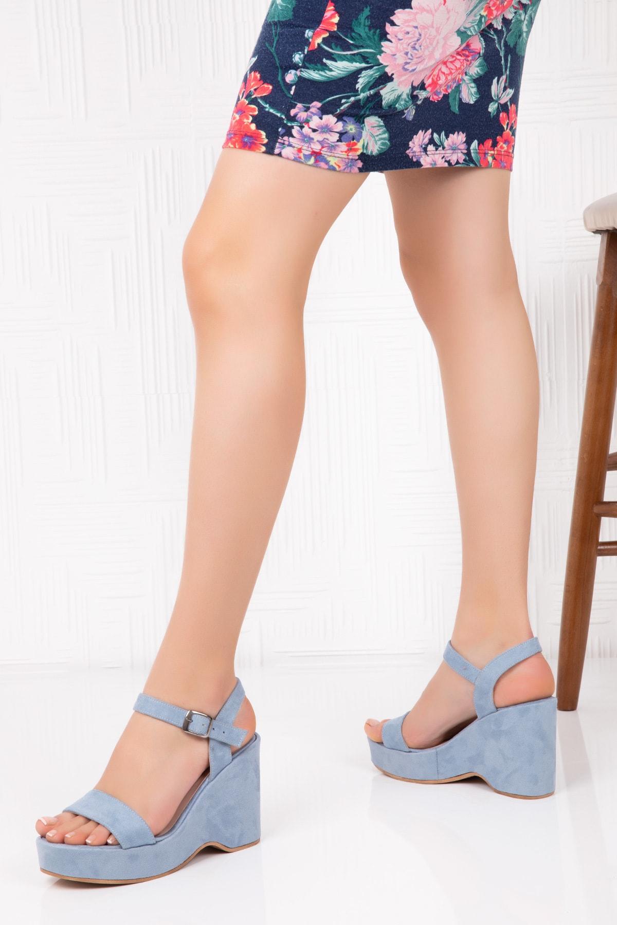 Potini Ayakkabı Kadın Dolgu Topuk Sandalet 1