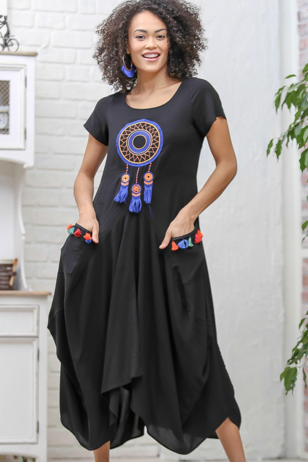 Chiccy Kadın Siyah Bohem Dream Catcher Nakışlı Cepli Asimetrik Elbise M10160000EL97077