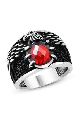 Tesbihane Erkek Kartal Pençesi Tasarım Kırmızı Zirkon Taşlı 925 Ayar Gümüş Yüzük