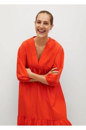 MANGO Woman Fırfırlı Koton Elbise