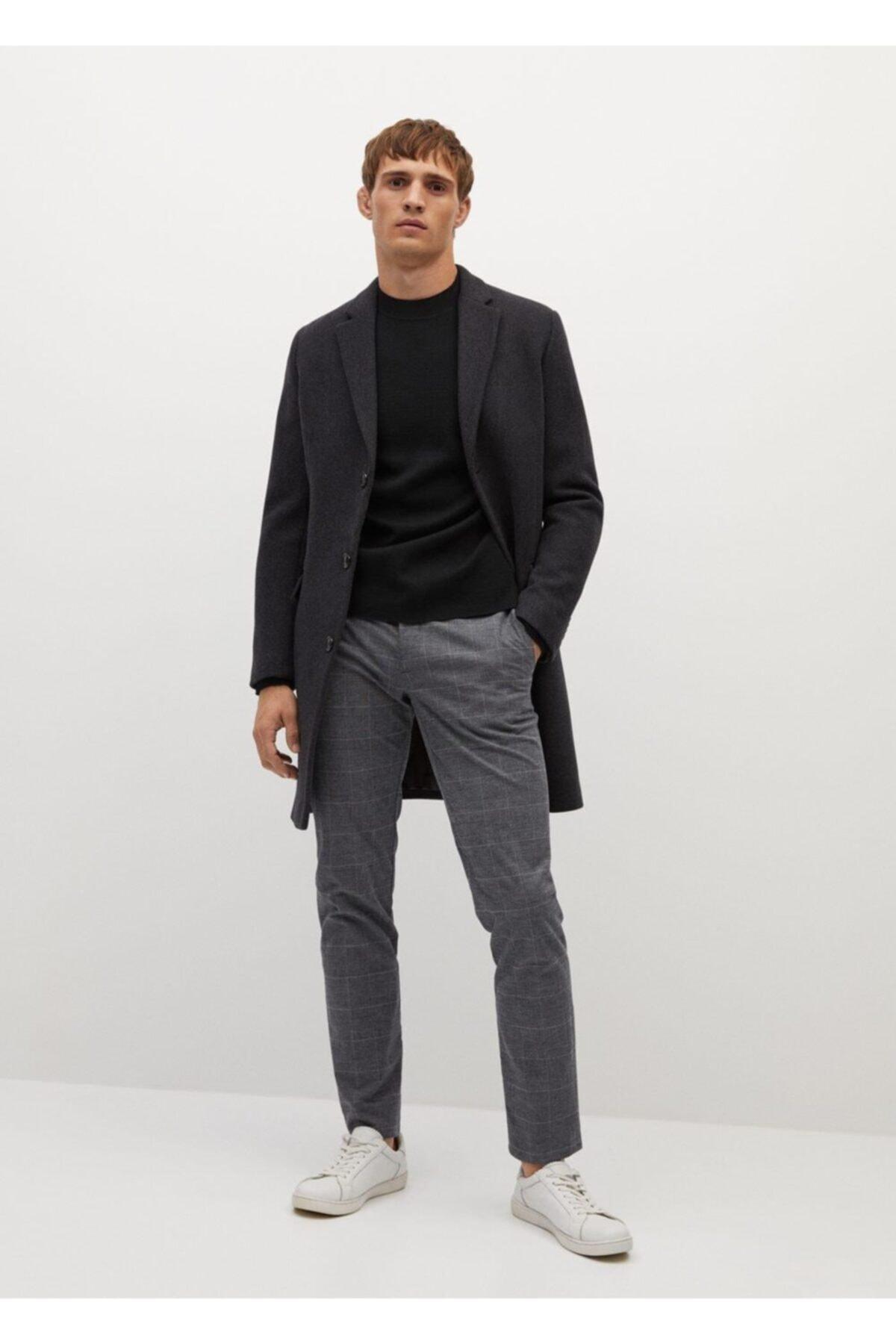 MANGO Man Dar Kesim Kareli Pamuklu Pantolon 2