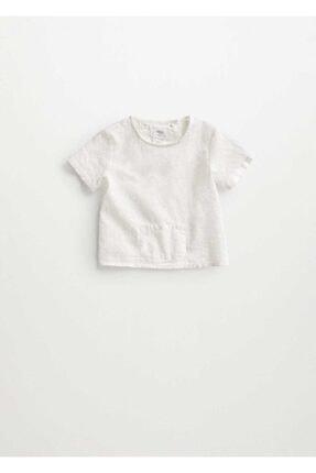MANGO Baby Bebek Kırık Beyaz Cepli Pamuklu Bluz