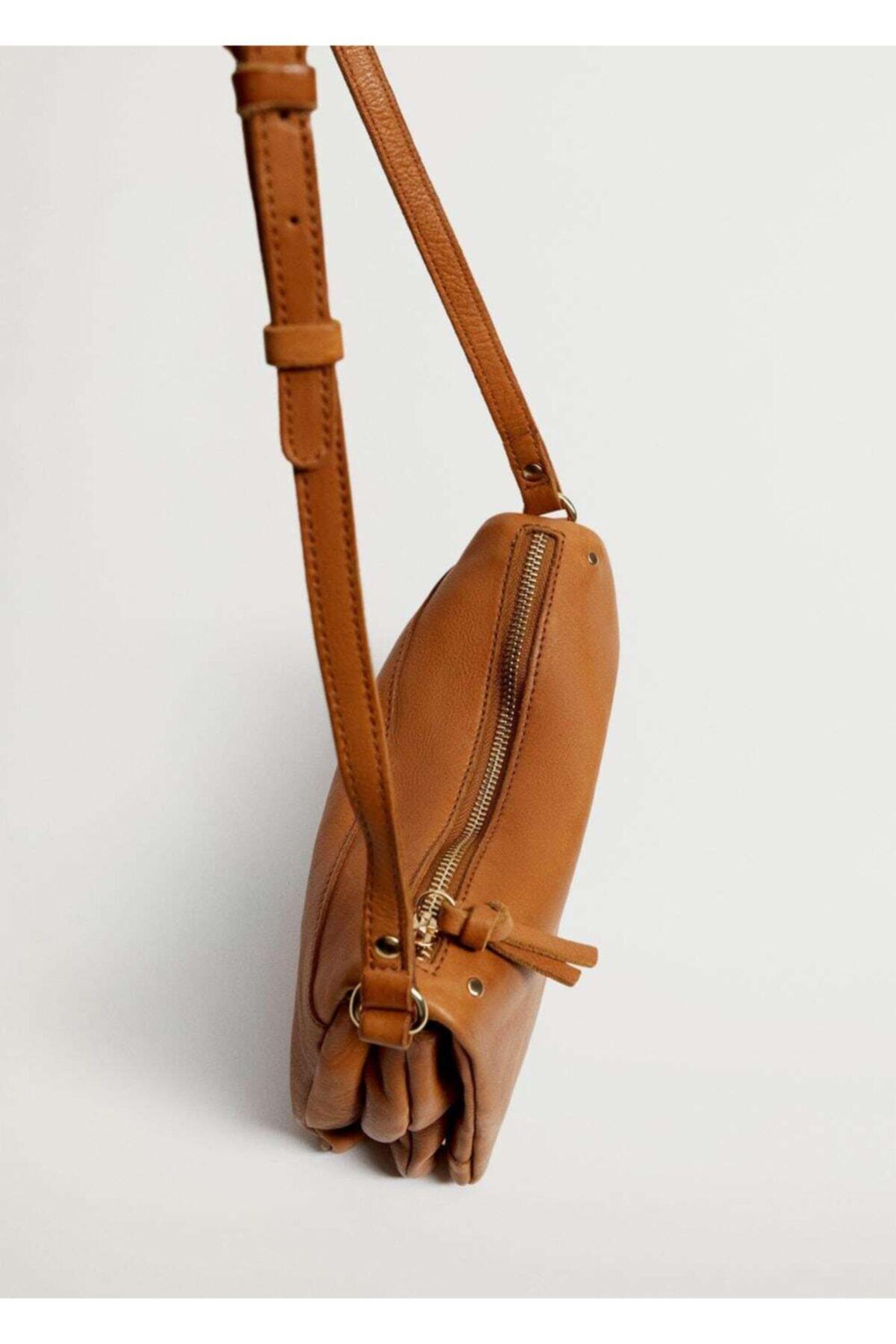 MANGO Woman Kapaklı Deri Çanta 1