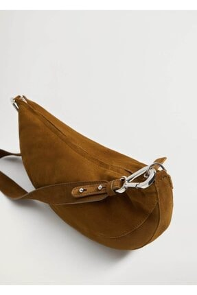 MANGO Woman Yarım Ay Şekilli Deri Çanta