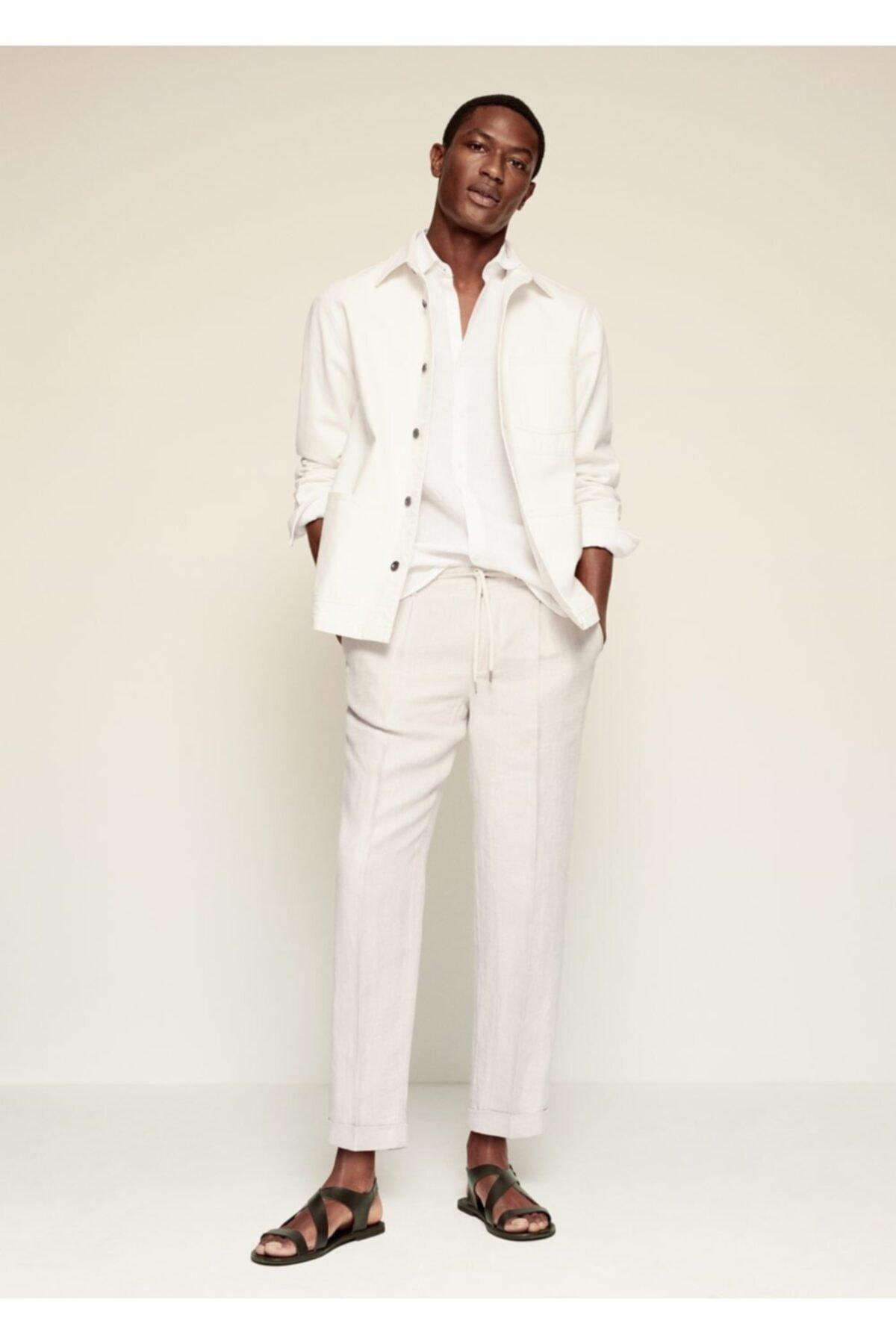 MANGO Man Erkek Pilili Keten Pantolon 2
