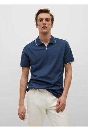 MANGO Man Teknik Kumaşlı Fermuarlı Örgü Polo Gömlek