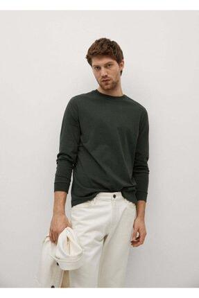 MANGO Man Erkek Haki Uzun Kollu Pamuklu Tişört