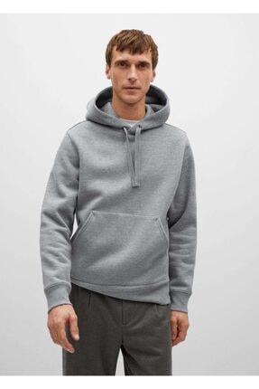 MANGO Man Erkek Orta Kırçıllı Gri Kapüşonlu Koton Sweatshirt