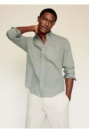 MANGO Man Erkek Haki Renk %100 Keten Dar Kesim Gömlek