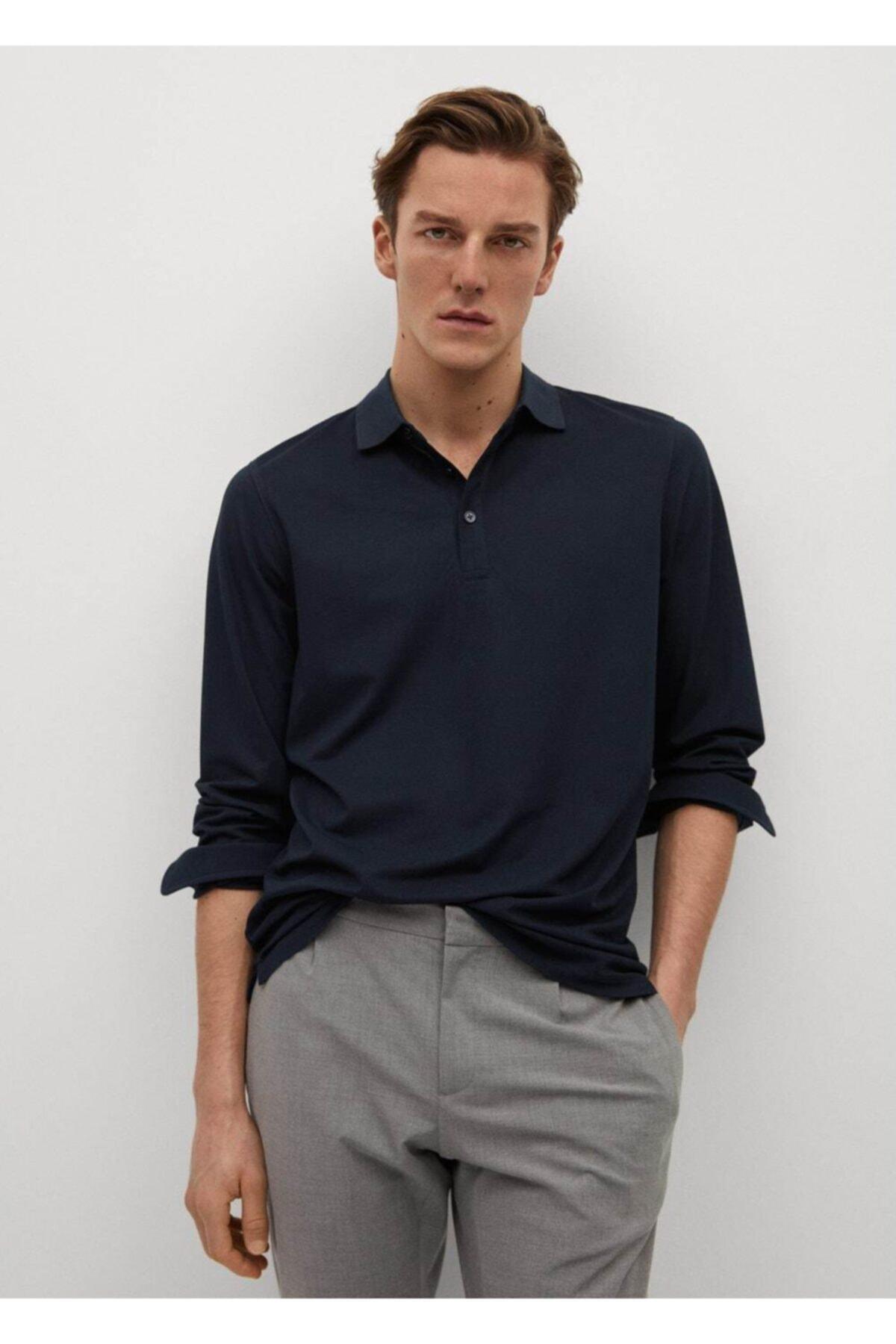 MANGO Man Teknik Kumaşlı Uzun Kollu Polo Gömlek 1