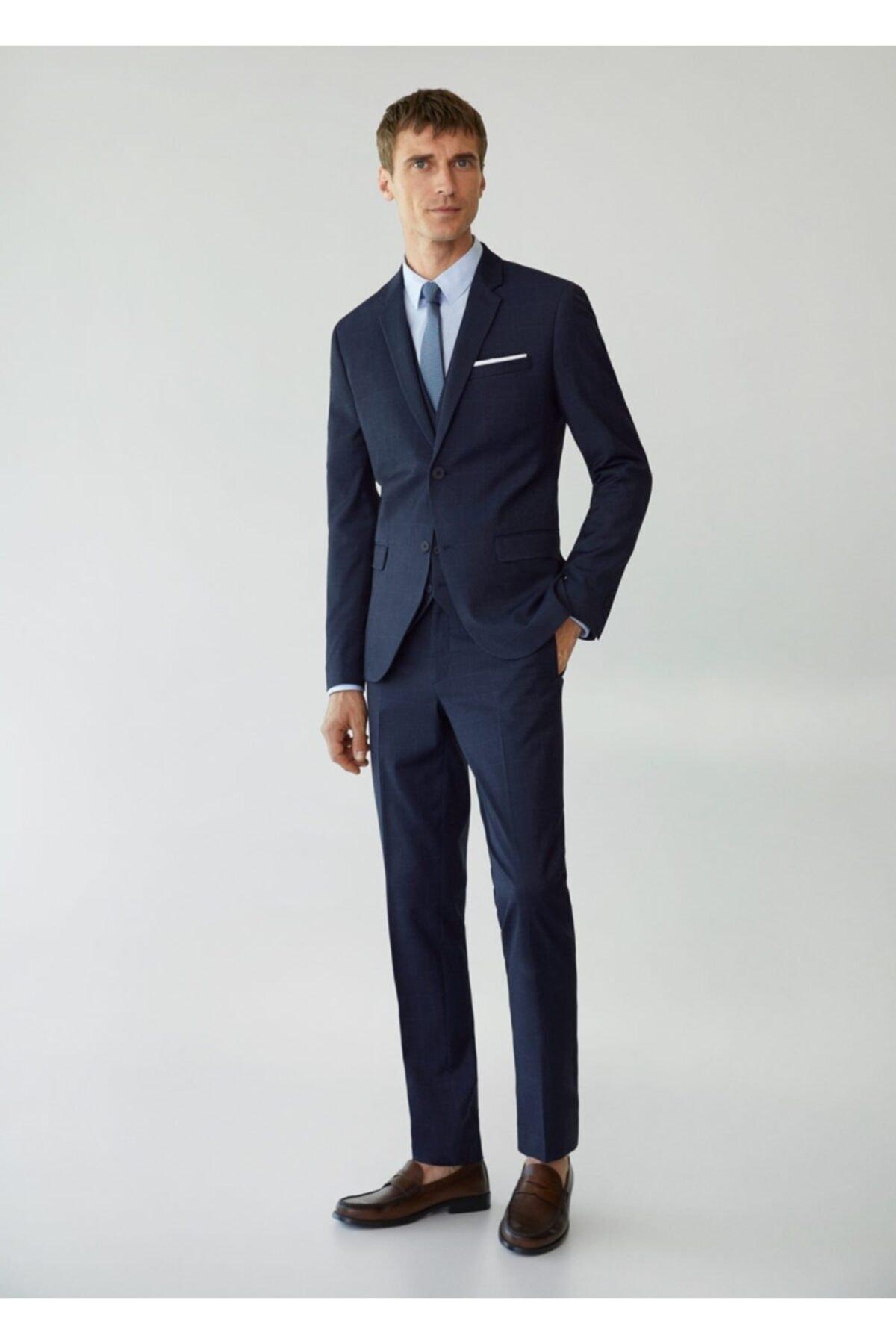 MANGO Man Erkek Lacivert Süper Dar Kesimli Kareli Tailored Blazer Ceket 2