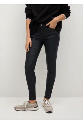 MANGO Woman Kadın Siyah Deri Görünümlü Skinny Push-Up Jean Pantolon