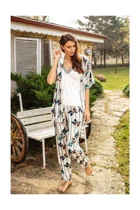 Anıl 5531 Kadın Çizgili Viskon Yeşil Pijama Sabahlık 3lü Takım