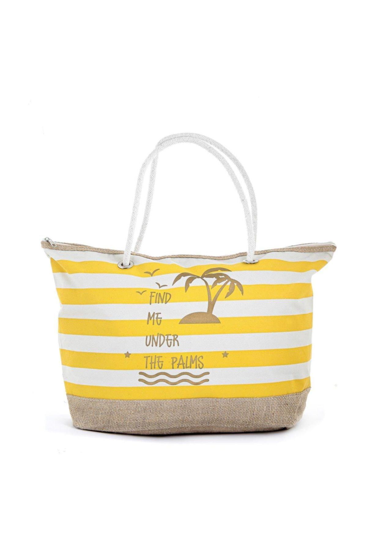 TREND Kadın Plaj Çantası Sarı 1