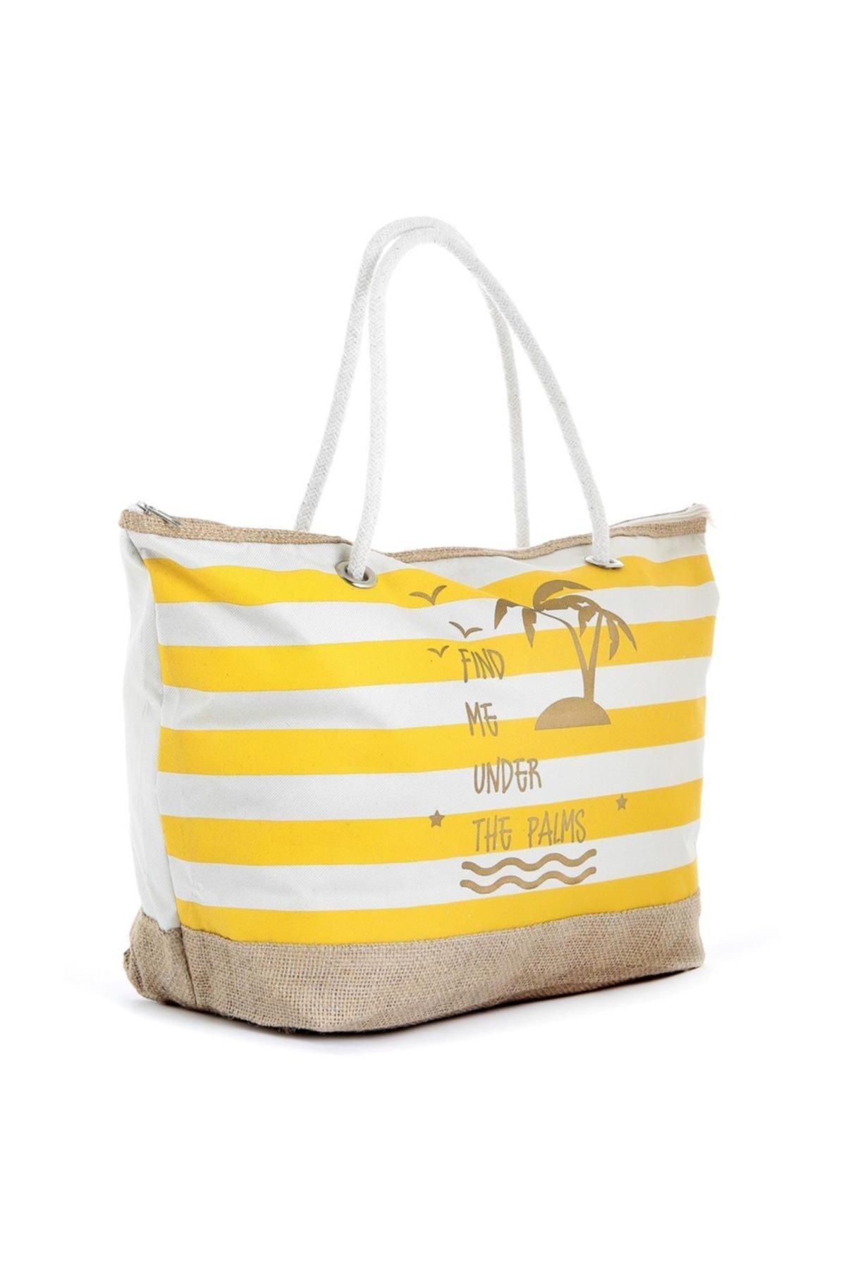TREND Kadın Plaj Çantası Sarı (fermuarsız) 2
