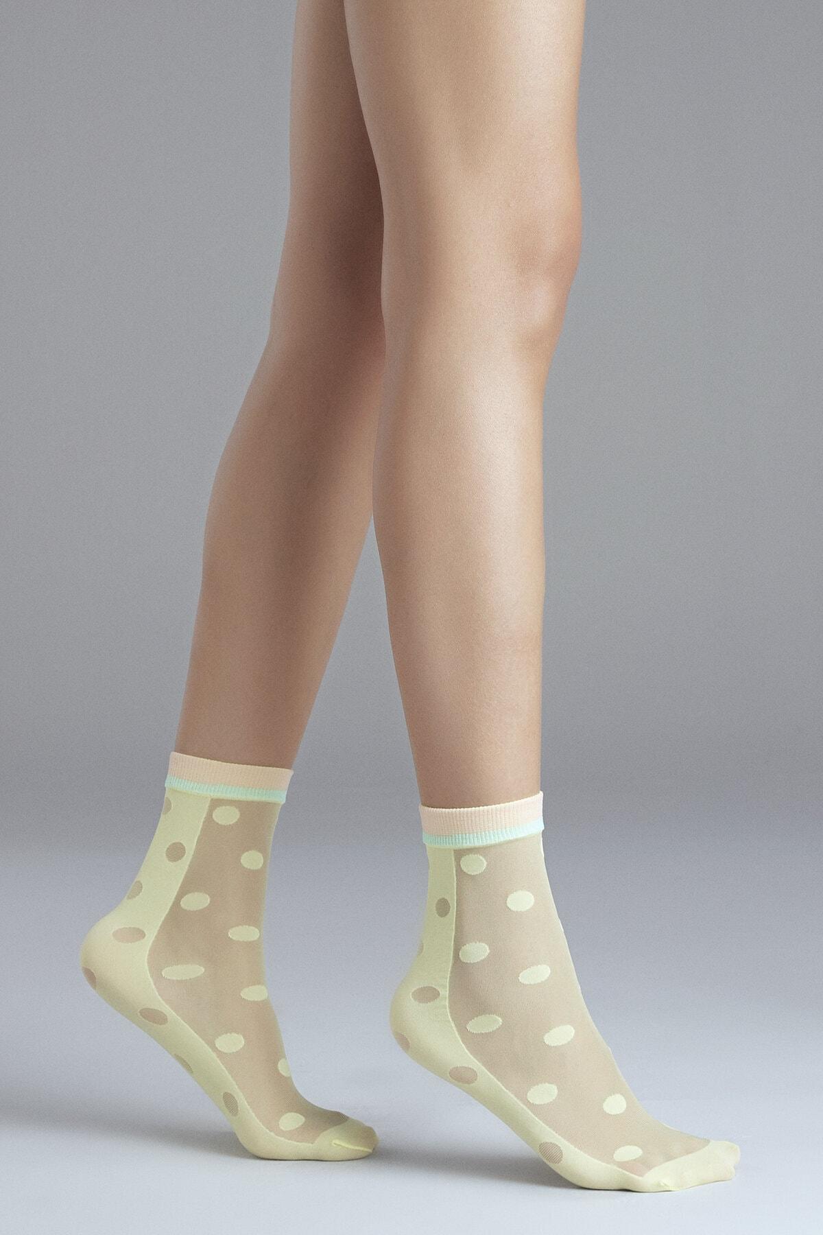 Penti Kadın Açık Sarı Yellow Dots Soket Çorabı