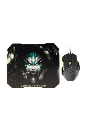 MF PRODUCT Strike 0119 Kablolu Rgb Gaming Mouse + Mouse Pad Yeşil