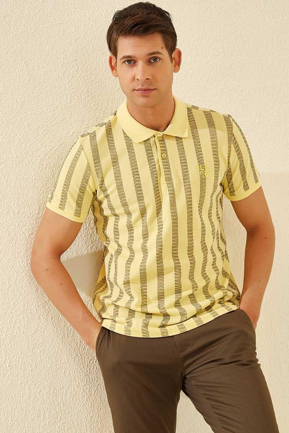 Tommy Life Desenli Polo Yaka Sarı Erkek Tshirt T08ER-87805_1 2