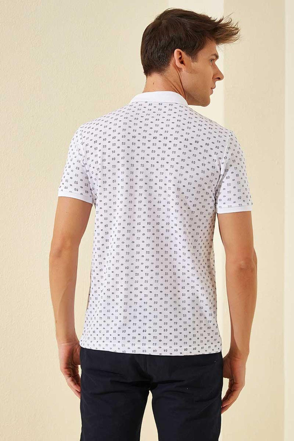 Tommy Life Klasik Desenli Polo Yaka Beyaz-Lacivert Erkek Tshirt T08ER-87795_1 2