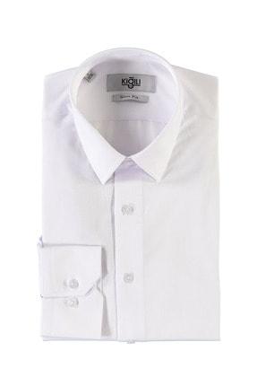 Kiğılı Erkek Beyaz Uzun Kol Desenli Slim Fit Gömlek