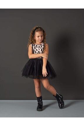 Hupo Kız Çocuk Siyah Dalmaçyalı Tül Zebra ve Bandanalı Elbise Takım