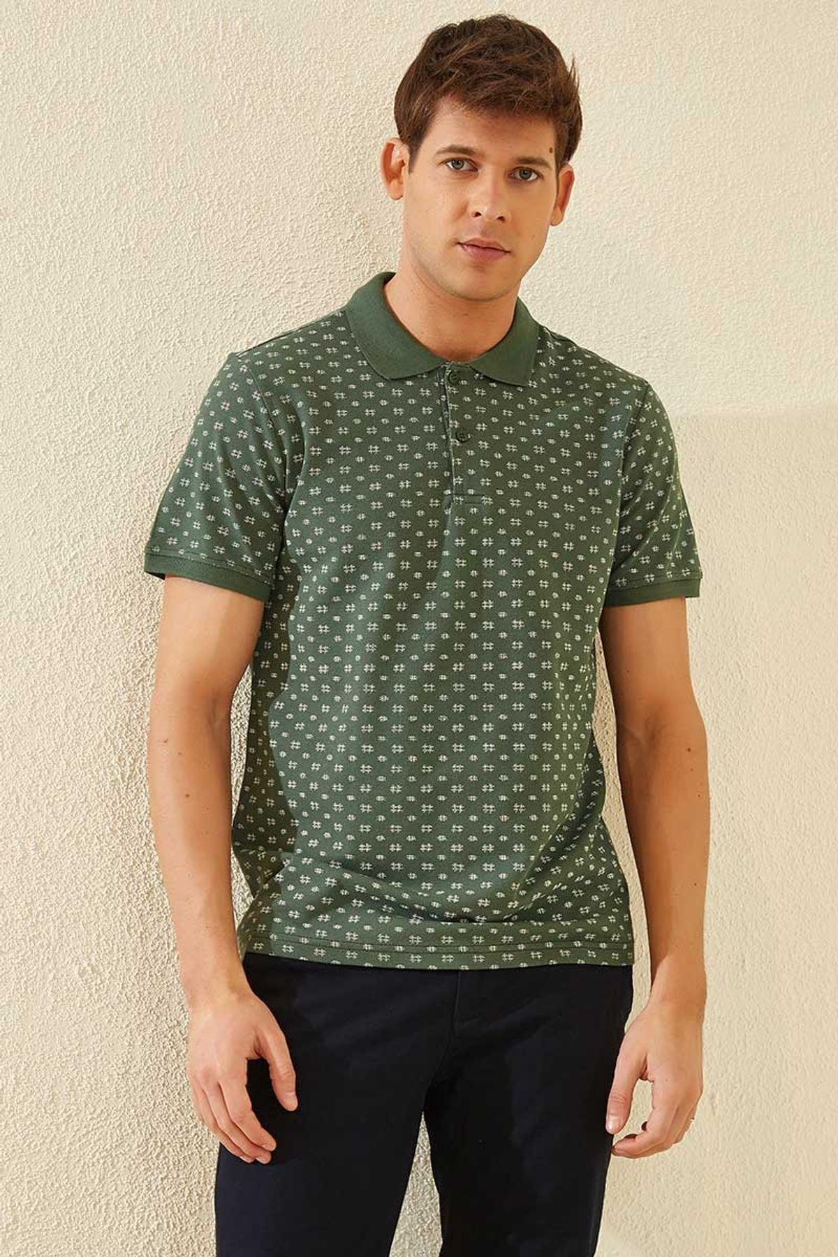 Tommy Life Klasik Desenli Polo Yaka Yeşil Erkek Tshirt T08ER-87795_1 1