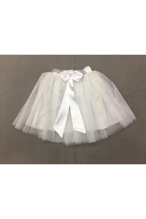 Gökkuşağı Kız Çocuk Beyaz Düz Renk Fiyonklu Tütü Etek