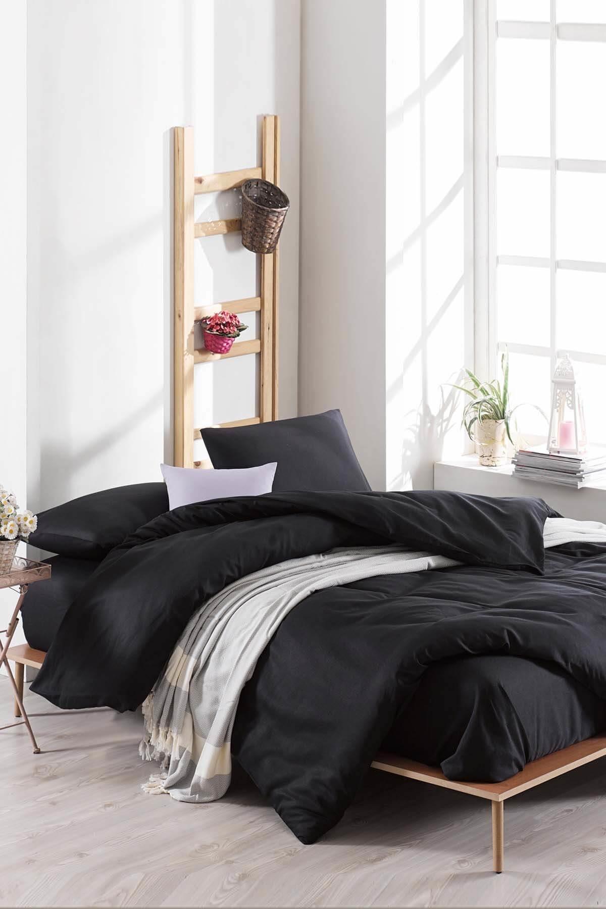 Ev & Ev Home Çift Kişilik Paint Nevresim Takımı D.Boya Siyah 1