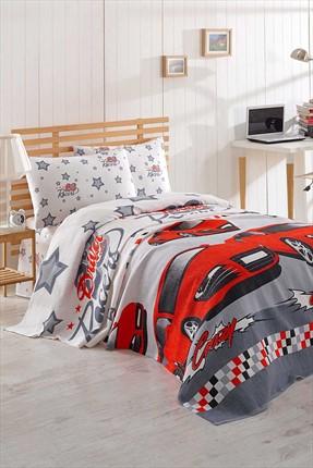 Ev & Ev Home Tek Kişilik Baskılı Pike Takımı Crazy Kırmızı