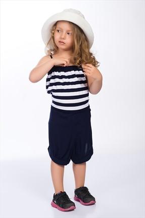 Pitti Kız Çocuk Lacivert Çizgili Tulum 9244