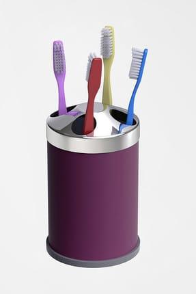 Alper Banyo Mor Tezgah Üstü Diş Fırçalık ( Metal )