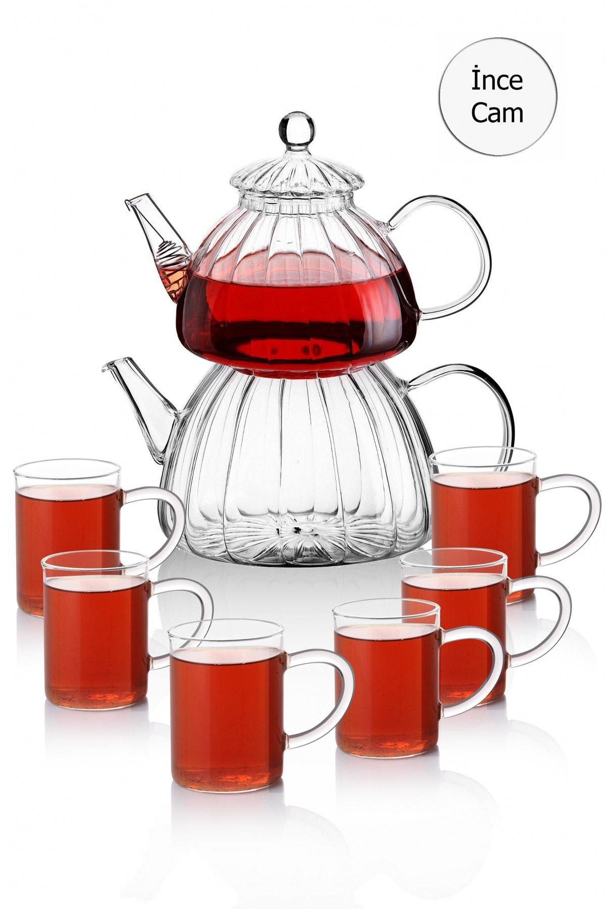 Queen's Kitchen Borasilikat Cam Çaydanlık Ve 6 Adet Kupa Bardak Takımı