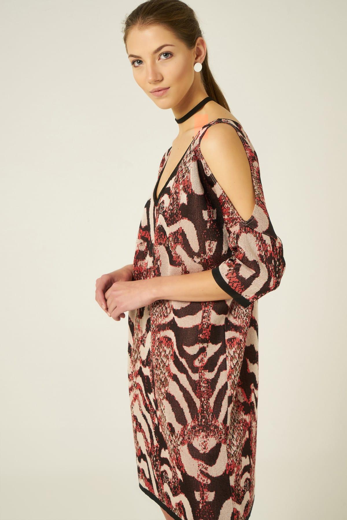 JOIN US Kadın Kahve Yılan Desenli V Yaka Omuzları Açık Elbise JU8-9W-DK1511 2