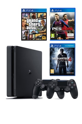 Sony Playstation 4 Slim 500 GB + 2. PS4 Kol + PS4 GTA 5 + PS4 Pes 19 + PS4 Uncharted 4
