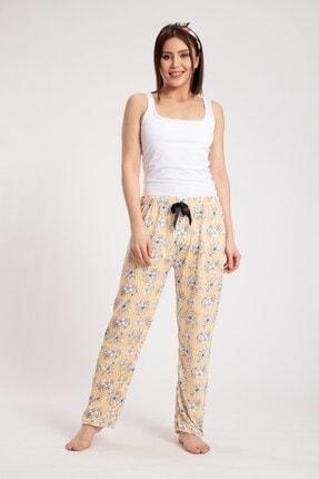 Pemilo Kadın Turuncu Çiçek Desenlli Penye Tek Alt Pijama  3001-43