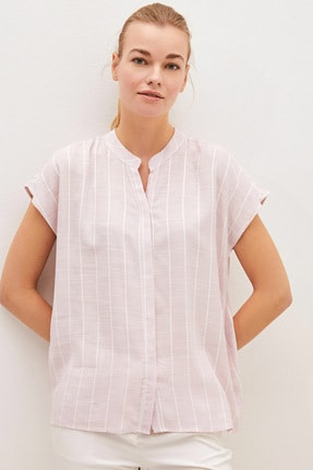 LC Waikiki Kadın Pembe Çizgili Classic Gömlek