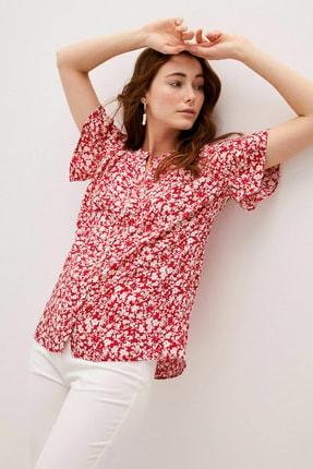 LC Waikiki Kadın Kırmızı Baskılı Classic Gömlek