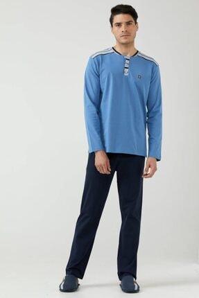 Sementa Erkek Yarım Düğmeli Çizgili Pijama Takımı - Mavi - Lacivert