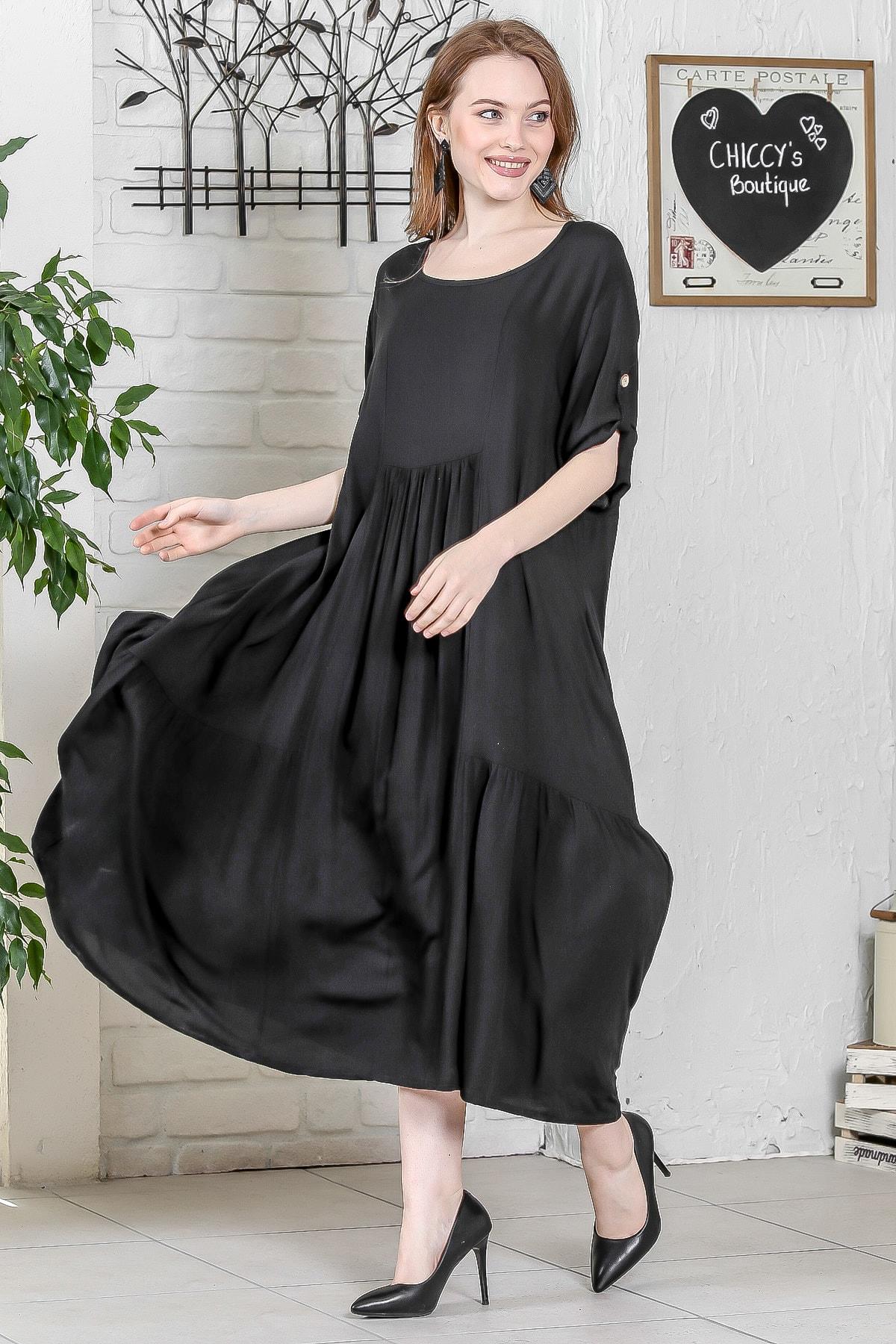 Chiccy Kadın Siyah Sıfır Yaka Ayarlanabilir Kol Detaylı Salaş Dokuma Uzun Elbise M10160000EL95222